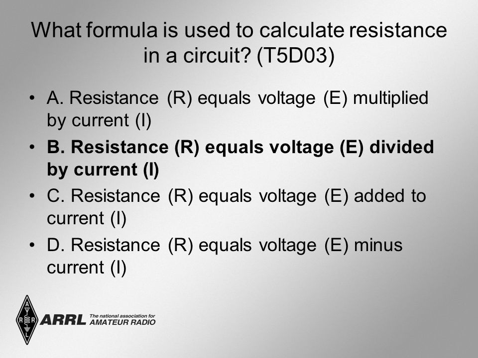 What formula is used to calculate resistance in a circuit.