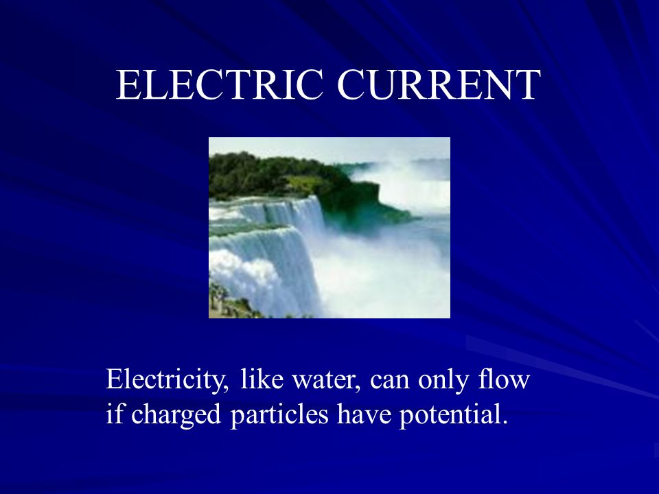 ELECTRIC CURRENT Electricity, like water, can only flow if charged particles have potential.