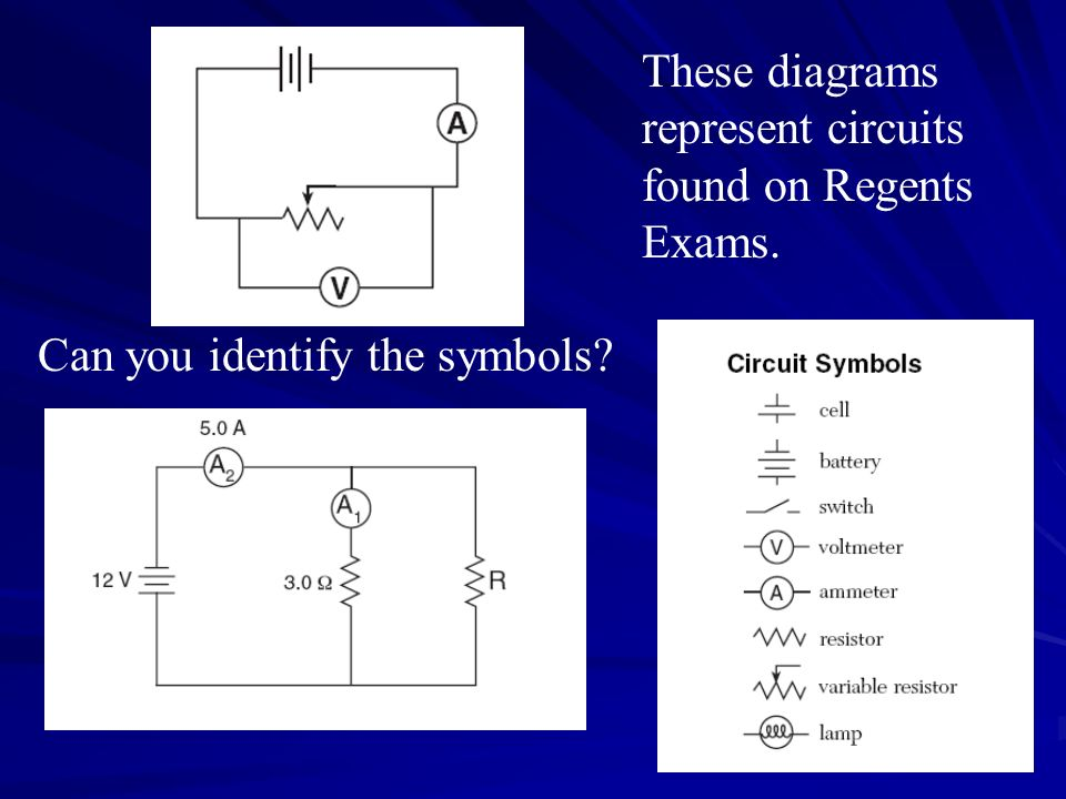 These diagrams represent circuits found on Regents Exams. Can you identify the symbols