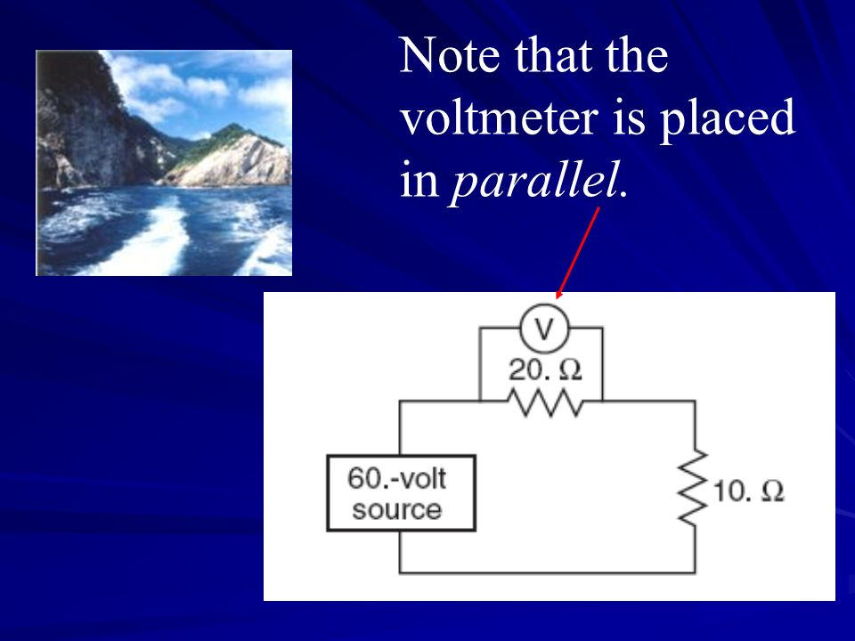 Note that the voltmeter is placed in parallel.