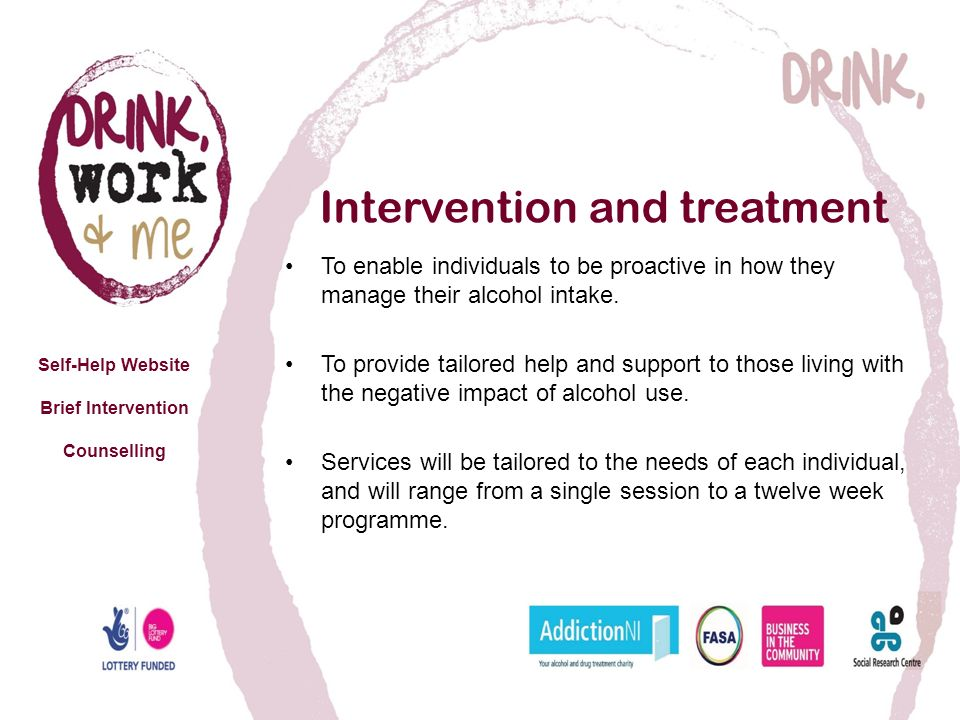 Intervention and treatment To enable individuals to be proactive in how they manage their alcohol intake.