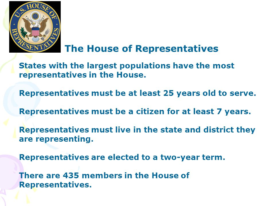 The House of Representatives States with the largest populations have the most representatives in the House.