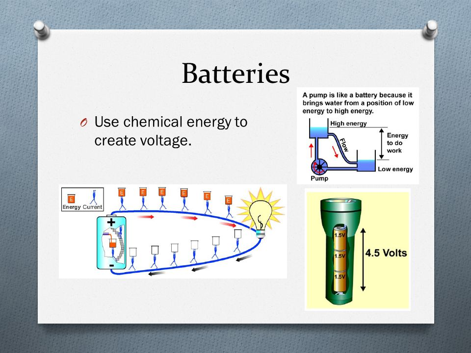 Batteries O Use chemical energy to create voltage.