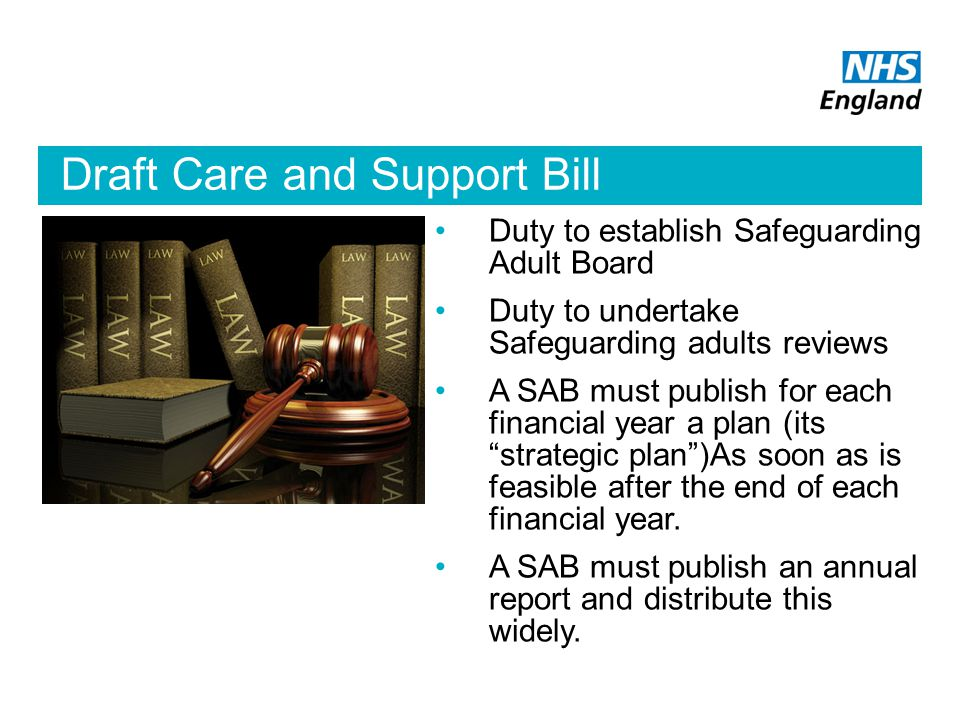 Draft Care and Support Bill Duty to establish Safeguarding Adult Board Duty to undertake Safeguarding adults reviews A SAB must publish for each financial year a plan (its strategic plan )As soon as is feasible after the end of each financial year.