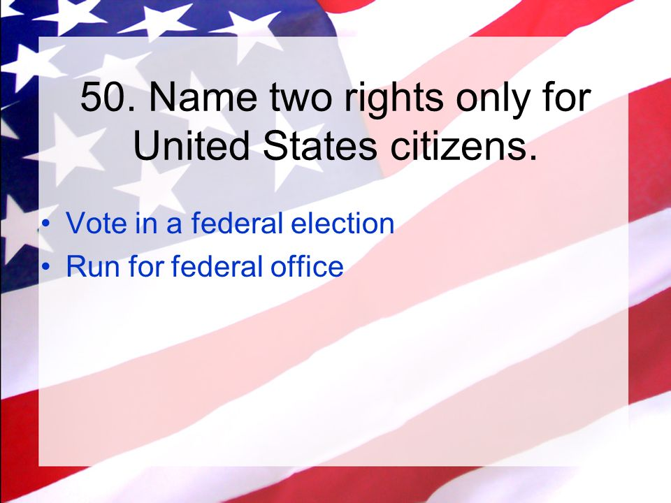 What rights do we have as citizens of the USA?