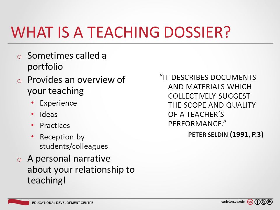 Carleton.ca/edc EDUCATIONAL DEVELOPMENT CENTRE DEVELOPING A TEACHING ...