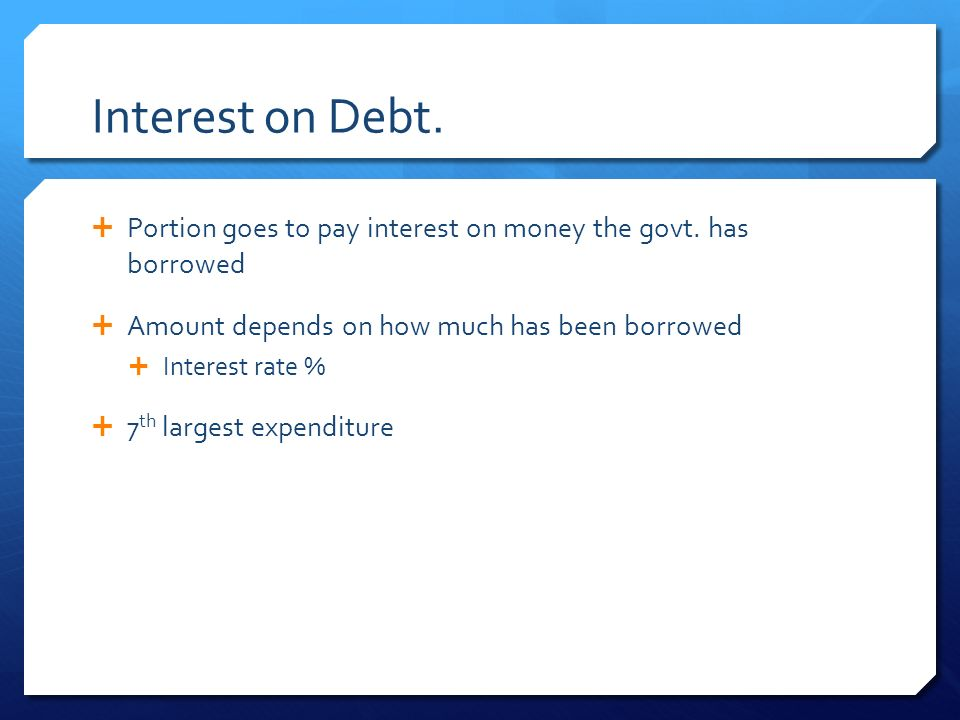 Interest on Debt.  Portion goes to pay interest on money the govt.