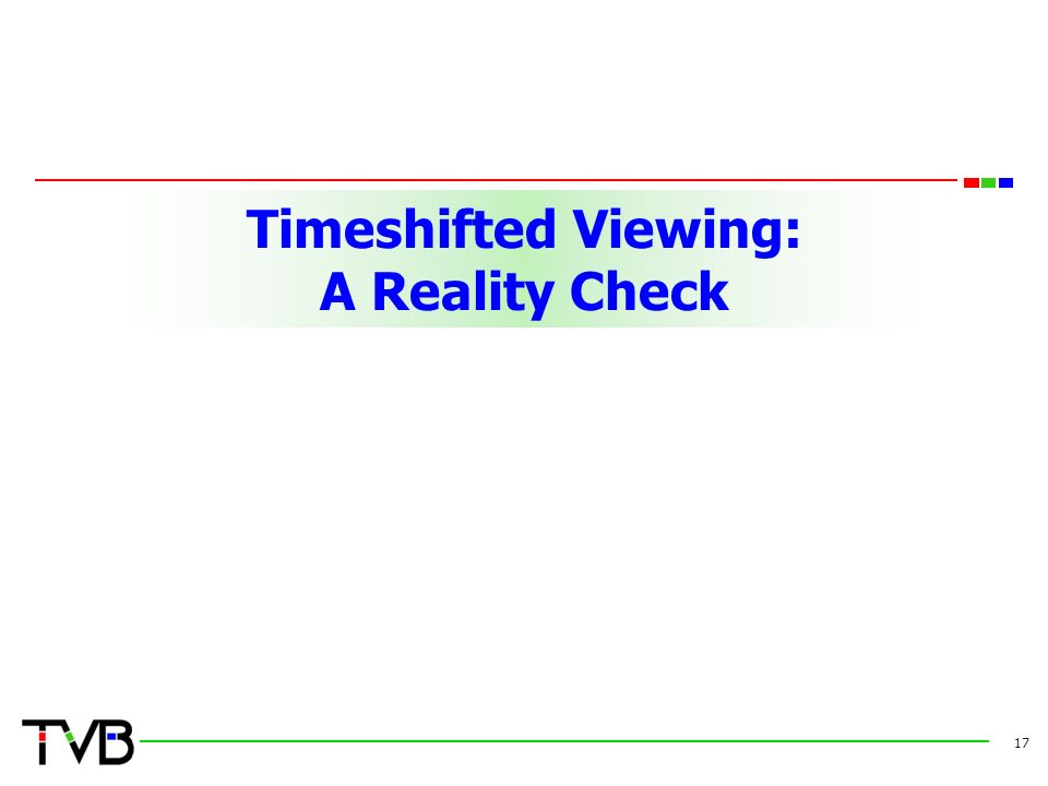 Timeshifted Viewing: A Reality Check 17