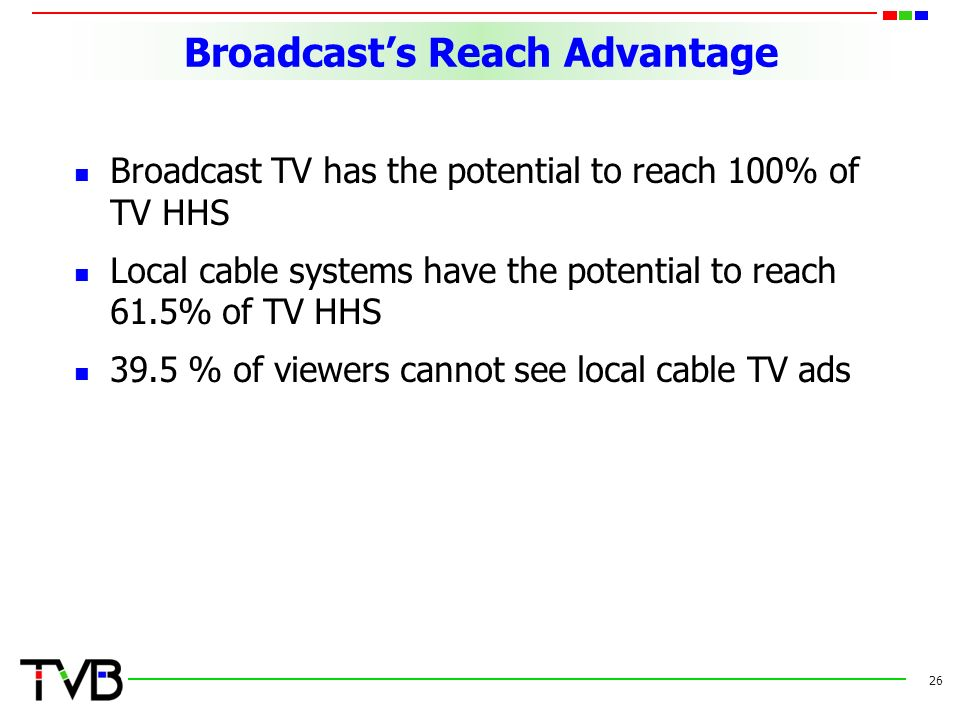 Broadcast's Reach Advantage Broadcast TV has the potential to reach 100% of TV HHS Local cable systems have the potential to reach 61.5% of TV HHS 39.5 % of viewers cannot see local cable TV ads 26