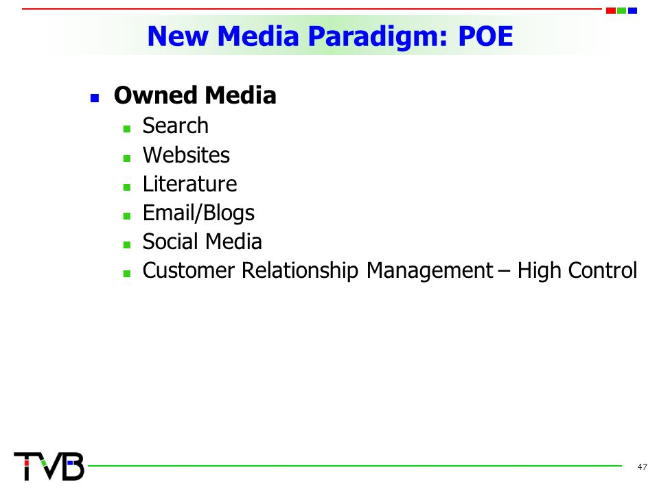 New Media Paradigm: POE Owned Media Search Websites Literature  /Blogs Social Media Customer Relationship Management – High Control 47