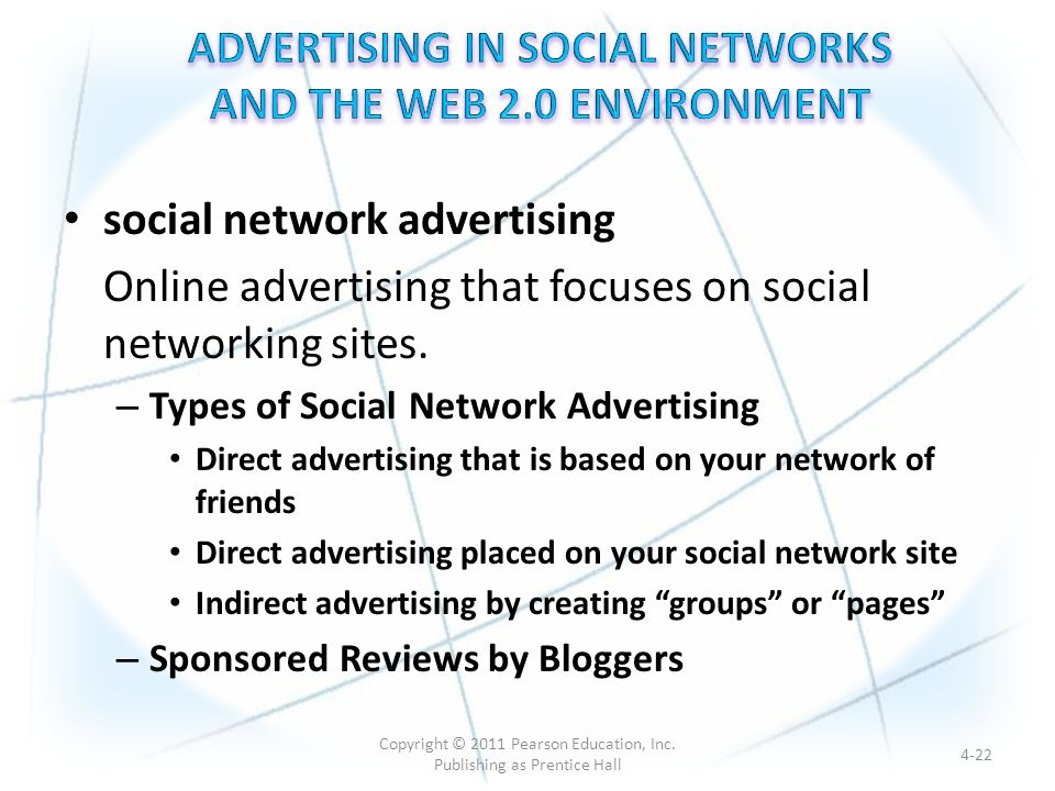 social network advertising Online advertising that focuses on social networking sites.