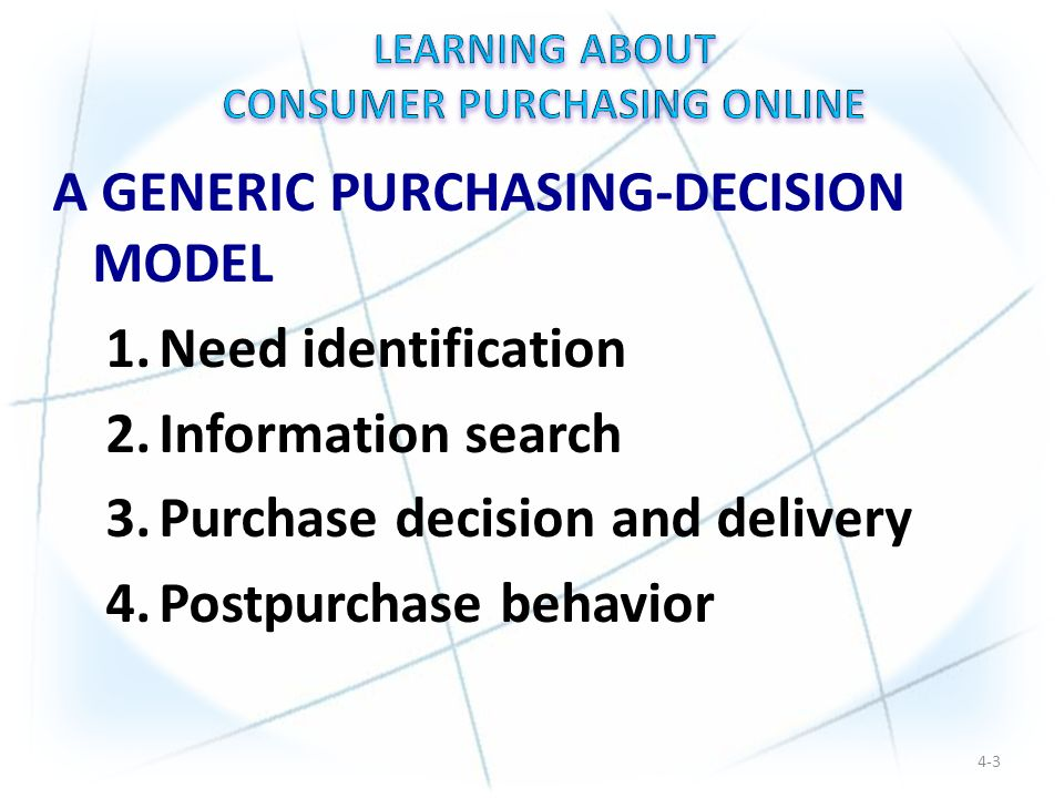 A GENERIC PURCHASING-DECISION MODEL 1.Need identification 2.Information search 3.Purchase decision and delivery 4.Postpurchase behavior 4-3