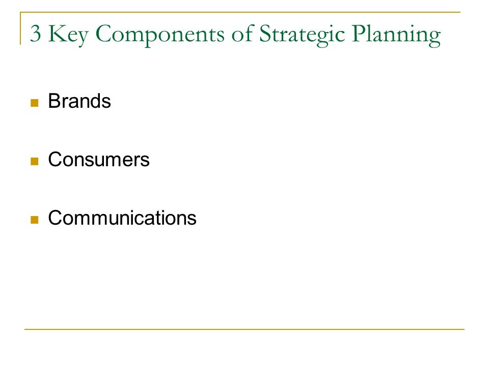 3 Key Components of Strategic Planning Brands Consumers Communications