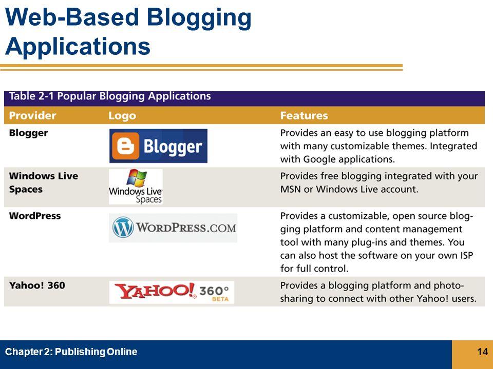 Web-Based Blogging Applications Chapter 2: Publishing Online14