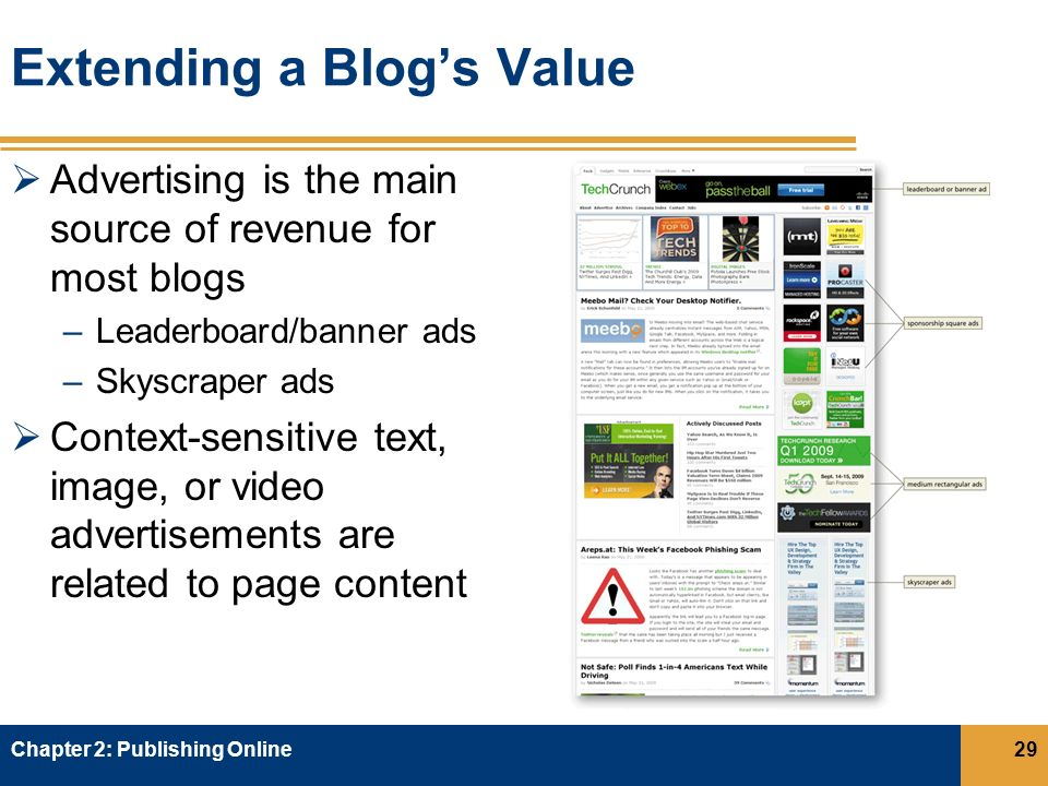 Extending a Blog's Value  Advertising is the main source of revenue for most blogs –Leaderboard/banner ads –Skyscraper ads  Context-sensitive text, image, or video advertisements are related to page content Chapter 2: Publishing Online29