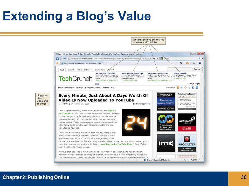 Extending a Blog's Value Chapter 2: Publishing Online30