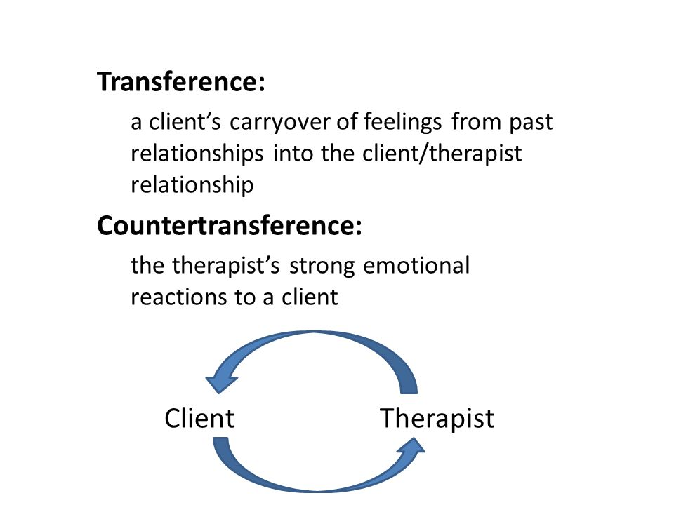 Transference A Clients Carryover Of Feelings From Past
