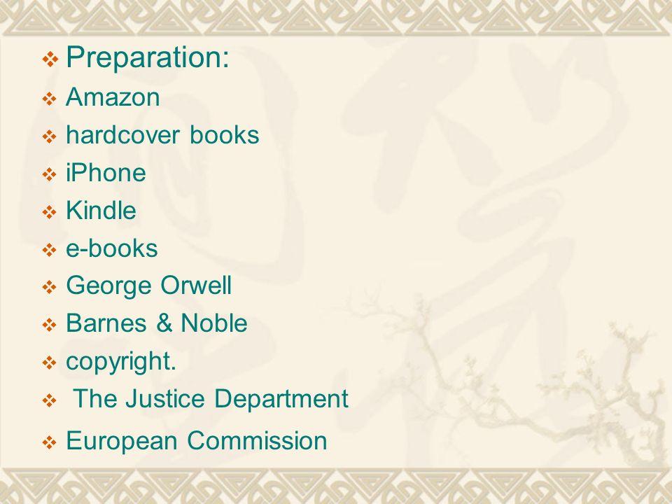  Preparation:  Amazon  hardcover books  iPhone  Kindle  e-books  George Orwell  Barnes & Noble  copyright.