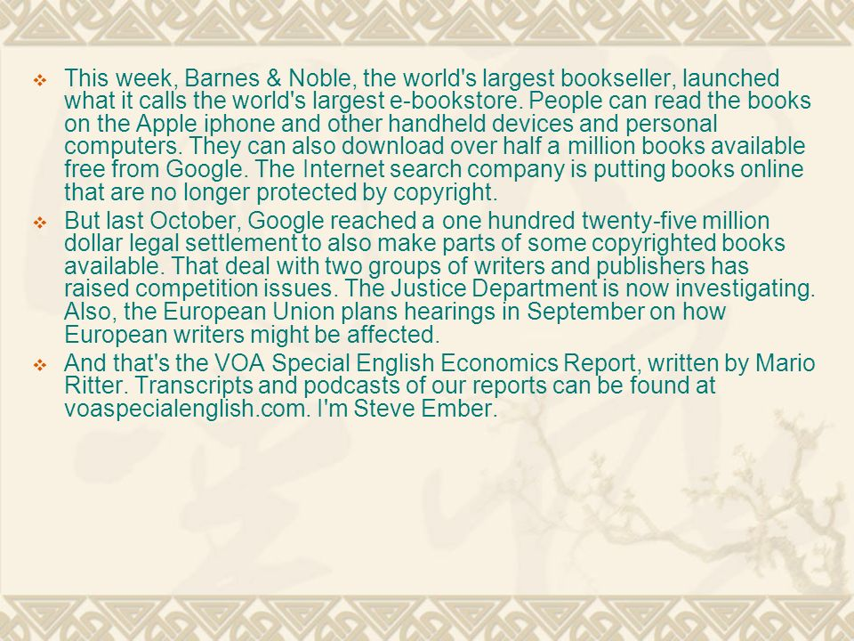  This week, Barnes & Noble, the world s largest bookseller, launched what it calls the world s largest e-bookstore.