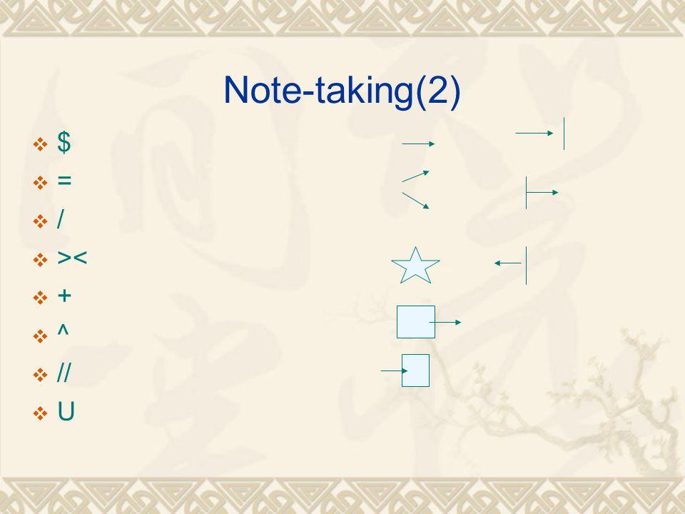 Note-taking(2)  $  =  /  ><  +  ^  //  U