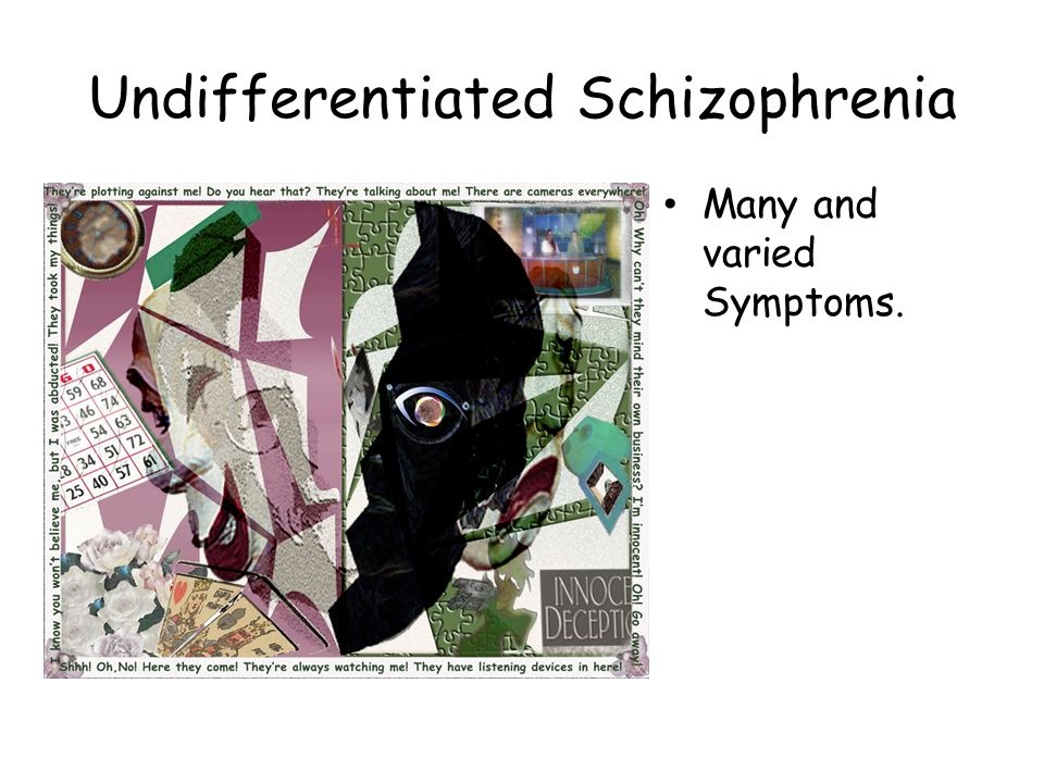 pathophysiology undifferentiated schizophrenia There are five subtypes of schizophrenia: paranoid schizophrenia, disorganized schizophrenia, catatonic schizophrenia, undifferentiated schizophrenia.