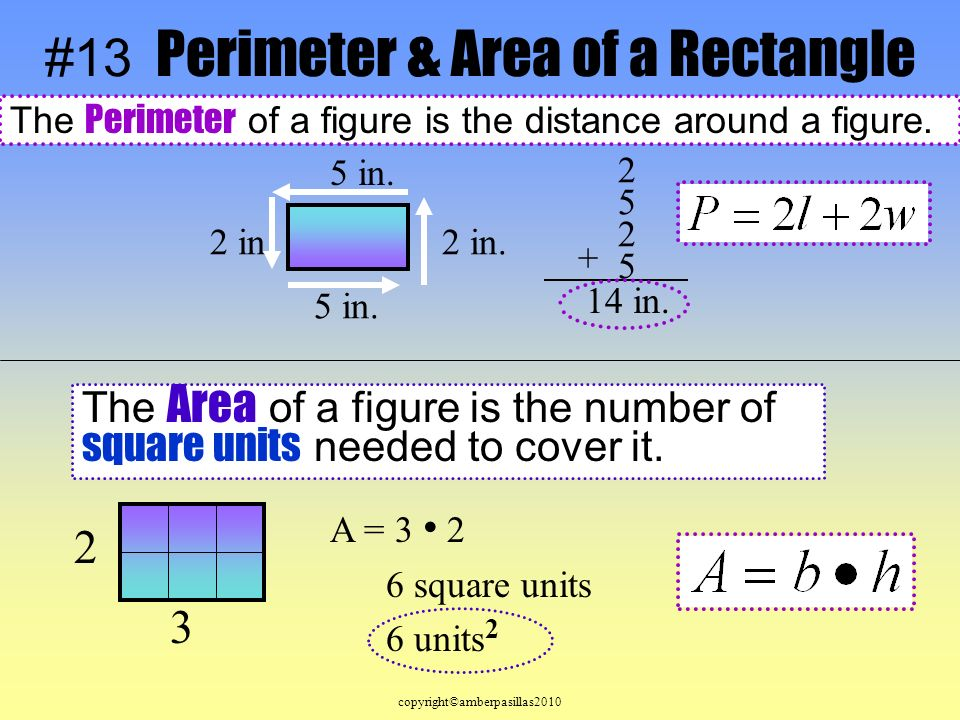 #13 Perimeter & Area of a Rectangle The Perimeter of a figure is the distance around a figure.