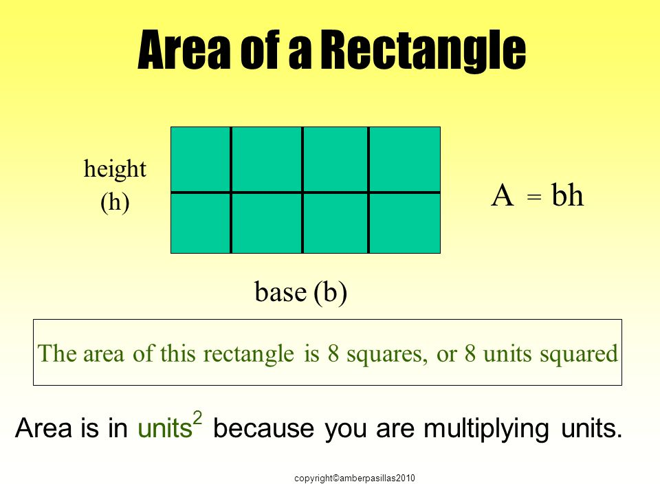 copyright©amberpasillas2010 Area of a Rectangle height base (h) (b) A = bh The area of this rectangle is 8 squares, or 8 units squared Area is in units 2 because you are multiplying units.