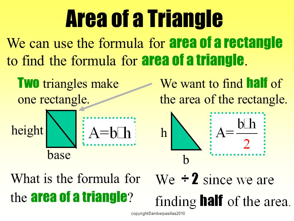 copyright©amberpasillas2010 Area of a Triangle What is the formula for the area of a triangle .