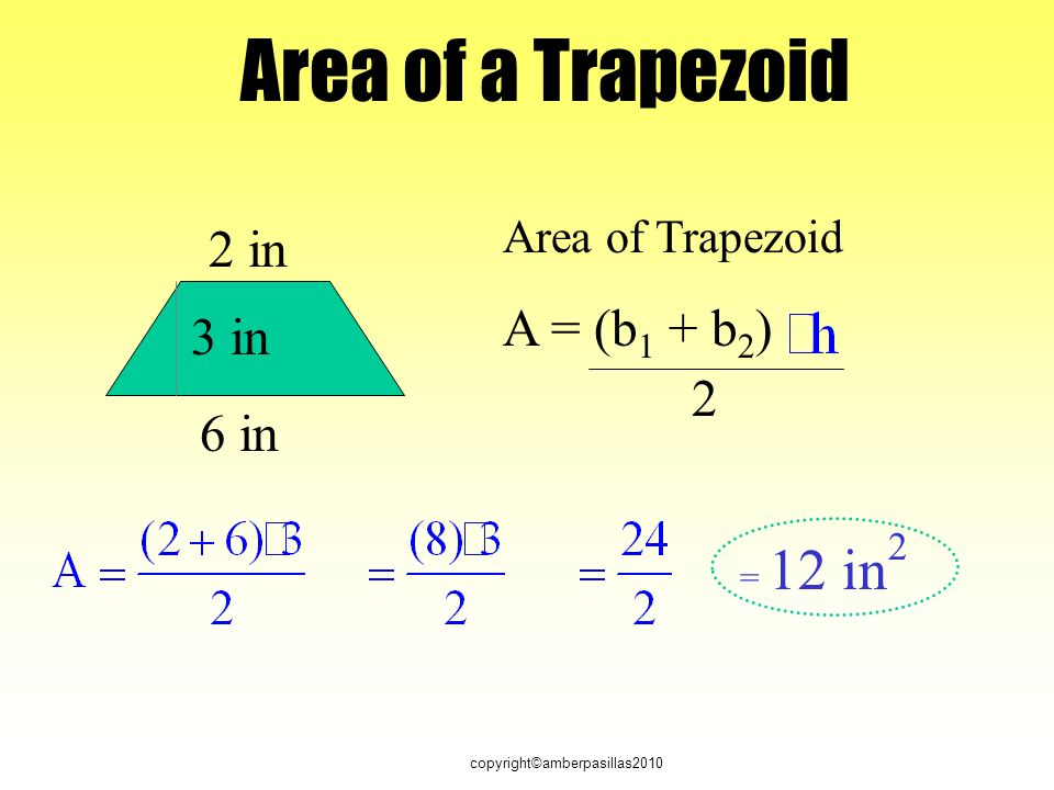 copyright©amberpasillas2010 Area of Trapezoid A = (b 1 + b 2 ) 2 2 in 6 in 3 in = 12 in 2 Area of a Trapezoid