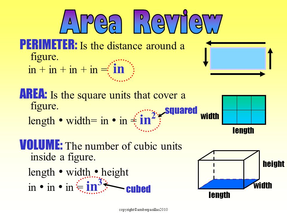 PERIMETER: Is the distance around a figure.