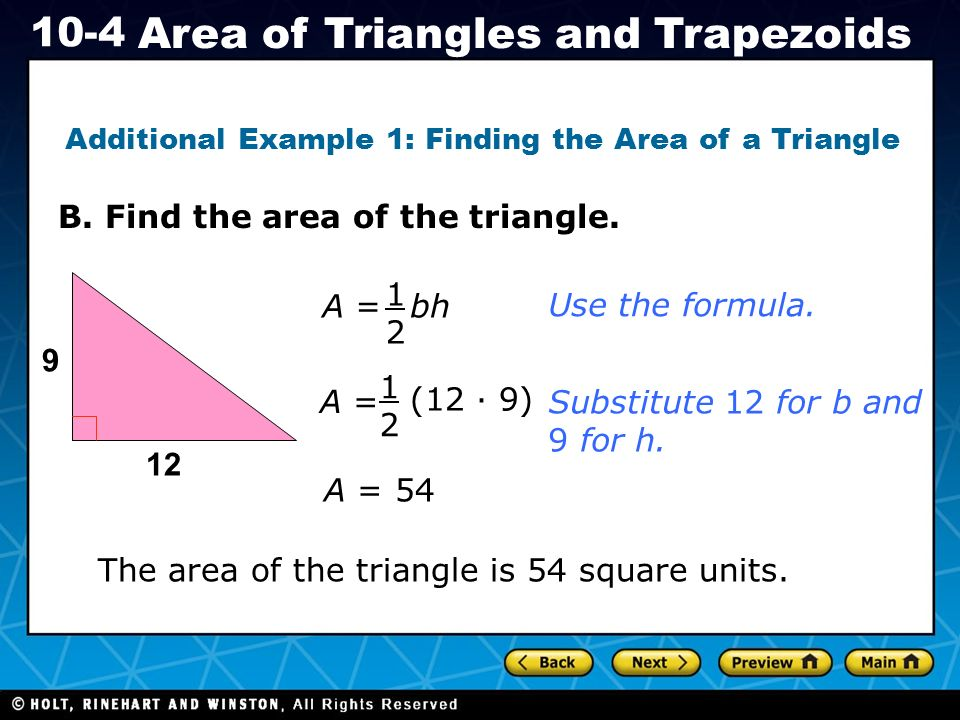 Holt ca course area of triangles and trapezoids af31 use holt ca course 1 10 4 area of triangles and trapezoids b ccuart Image collections