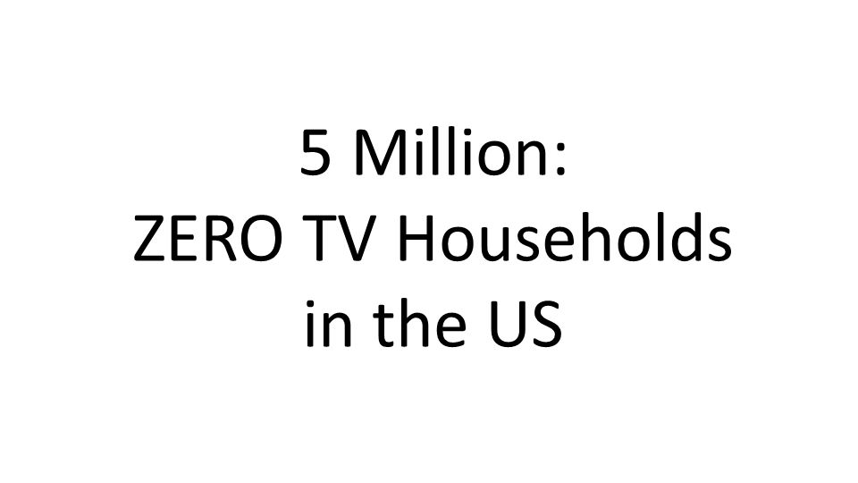 5 Million: ZERO TV Households in the US