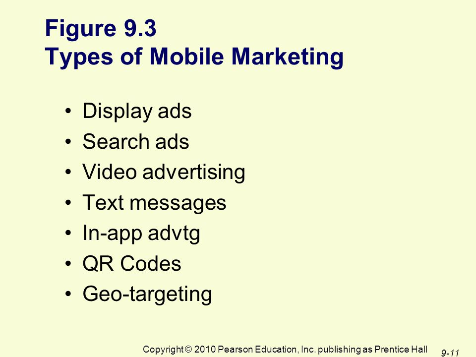 Figure 9.3 Types of Mobile Marketing Display ads Search ads Video advertising Text messages In-app advtg QR Codes Geo-targeting Copyright © 2010 Pearson Education, Inc.