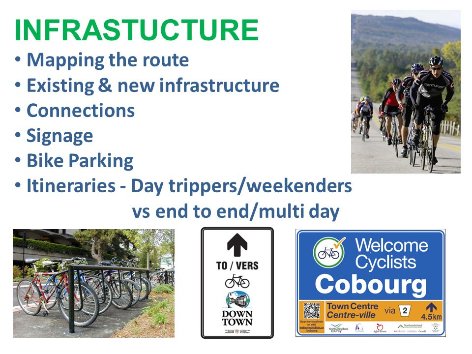 INFRASTUCTURE Mapping the route Existing & new infrastructure Connections Signage Bike Parking Itineraries - Day trippers/weekenders vs end to end/multi day