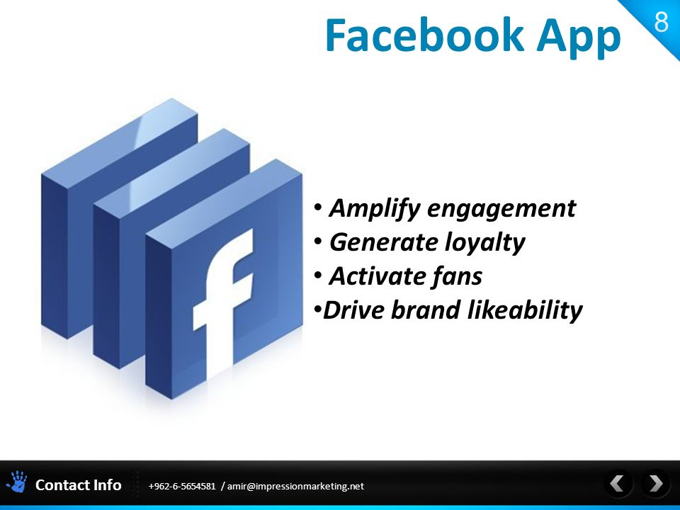 Contact Info Amplify engagement Generate loyalty Activate fans Drive brand likeability Facebook App /
