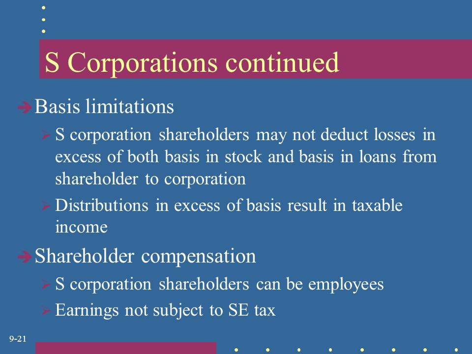 9-21 S Corporations continued  Basis limitations  S corporation shareholders may not deduct losses in excess of both basis in stock and basis in loans from shareholder to corporation  Distributions in excess of basis result in taxable income  Shareholder compensation  S corporation shareholders can be employees  Earnings not subject to SE tax