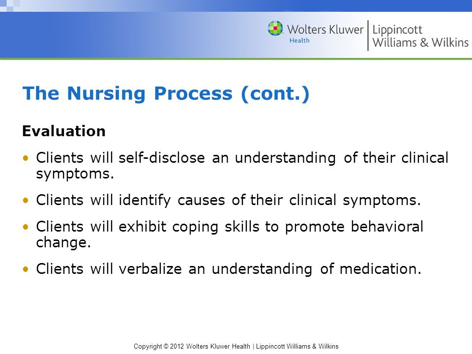 Copyright © 2012 Wolters Kluwer Health | Lippincott Williams & Wilkins The Nursing Process (cont.) Evaluation Clients will self-disclose an understanding of their clinical symptoms.