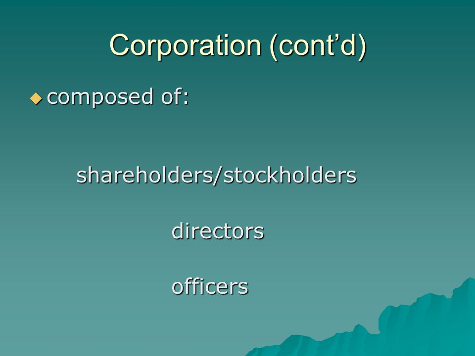 Corporation (cont'd)  composed of: shareholders/stockholdersdirectorsofficers