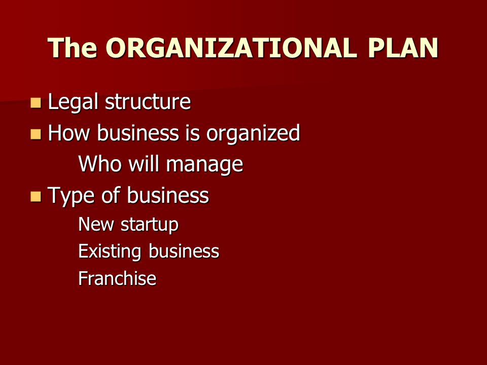 Business plan legal structure