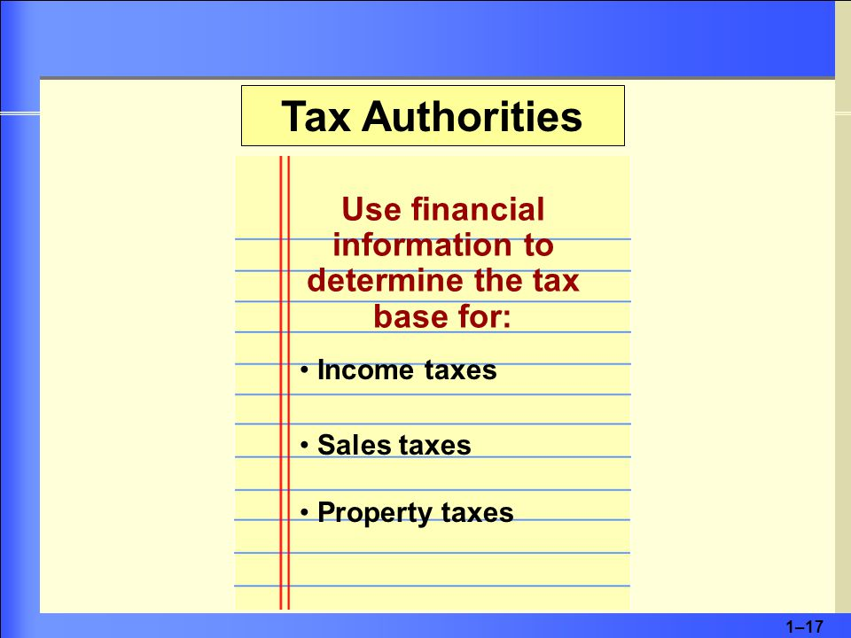 1–17 Tax Authorities Use financial information to determine the tax base for: Income taxes Sales taxes Property taxes