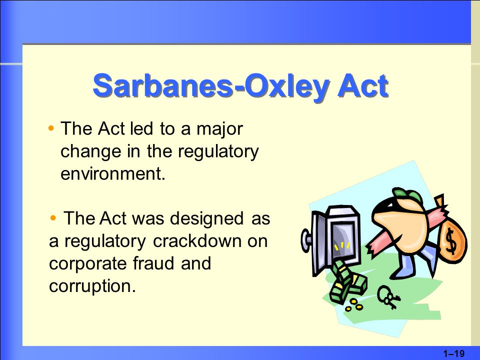 1–19 Sarbanes-Oxley Act TThe Act led to a major change in the regulatory environment.