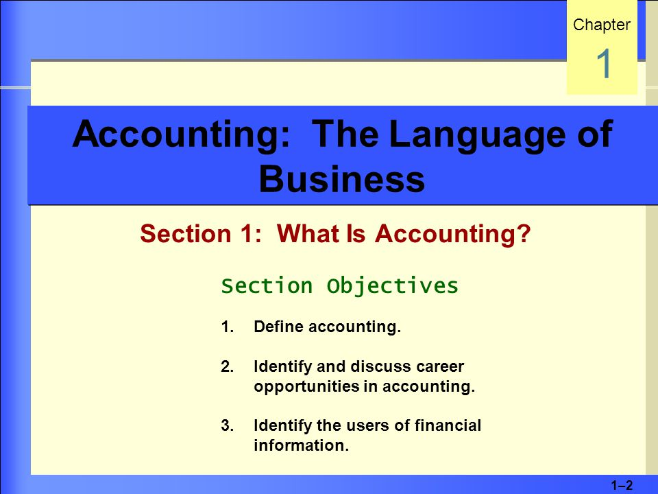 1–21–2 Accounting: The Language of Business Section 1: What Is Accounting.
