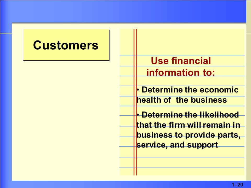 1–20 Customers Use financial information to: Determine the economic health of the business Determine the likelihood that the firm will remain in business to provide parts, service, and support