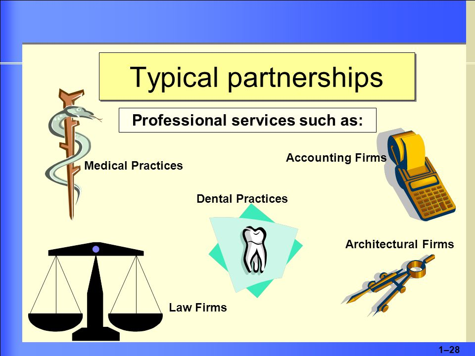 1–28 Typical partnerships Professional services such as: Accounting Firms Architectural Firms Dental Practices Medical Practices Law Firms