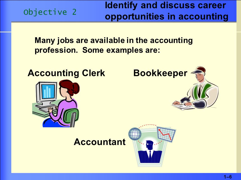 1–61–6 Accounting Clerk Many jobs are available in the accounting profession.