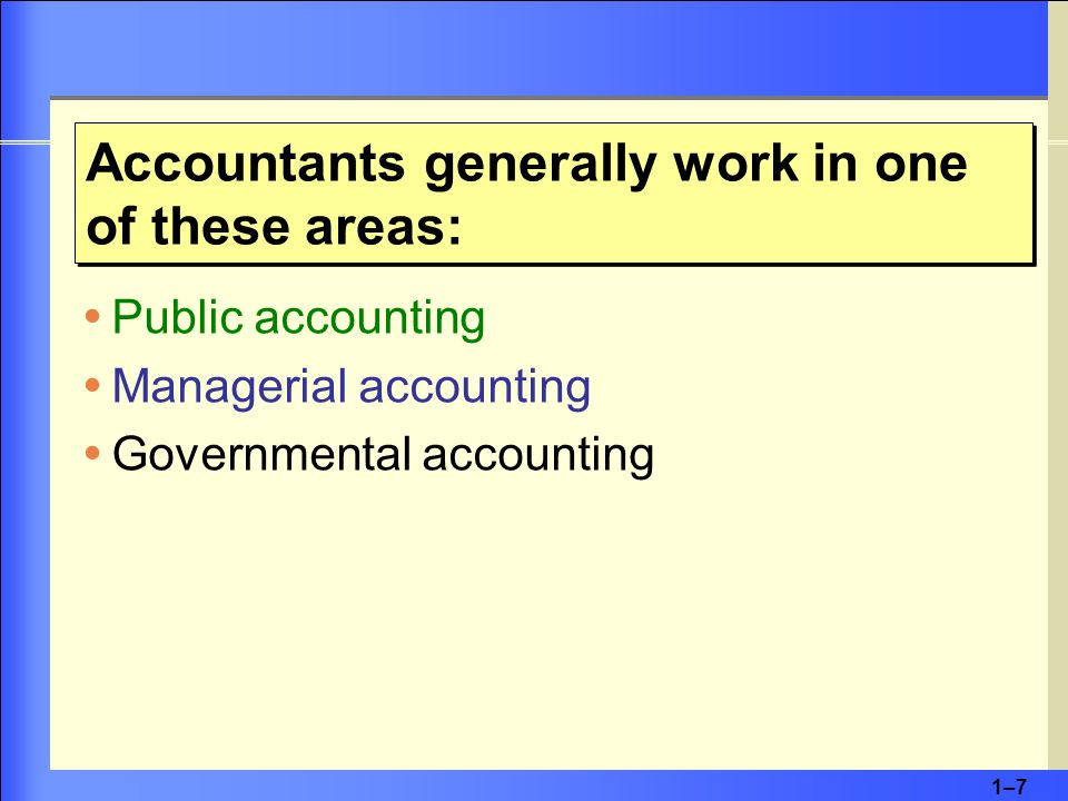 1–71–7  Public accounting  Managerial accounting  Governmental accounting Accountants generally work in one of these areas: