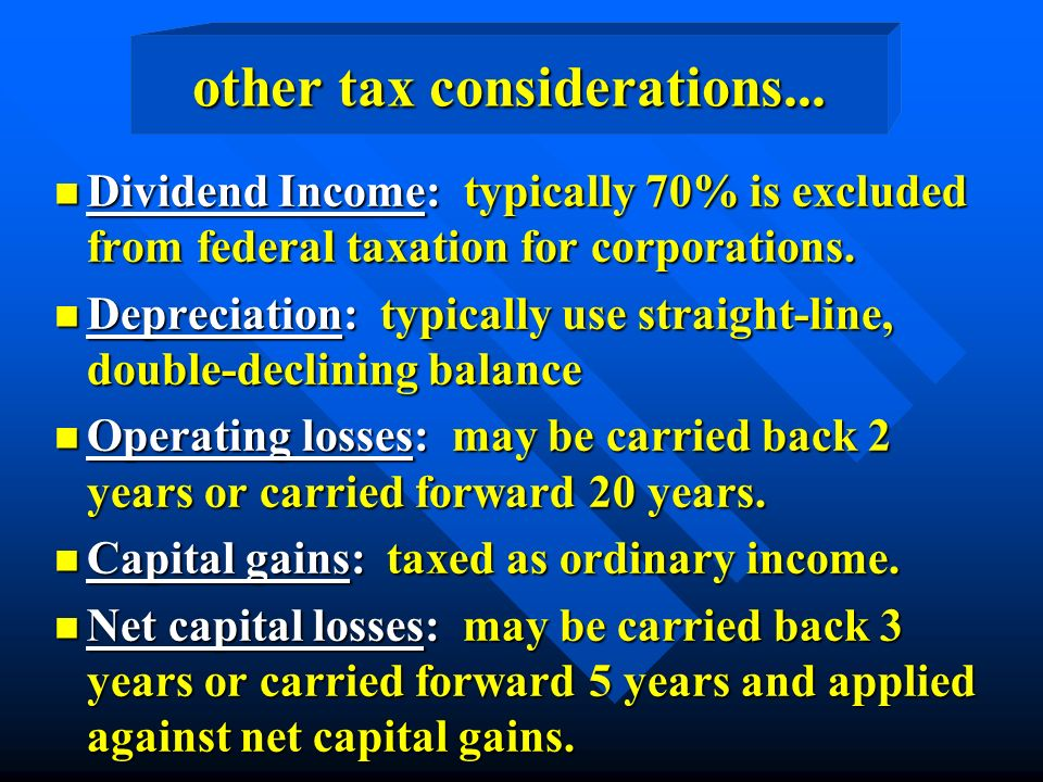other tax considerations...