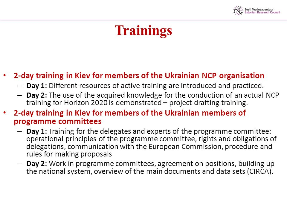 Trainings 2-day training in Kiev for members of the Ukrainian NCP organisation – Day 1: Different resources of active training are introduced and practiced.