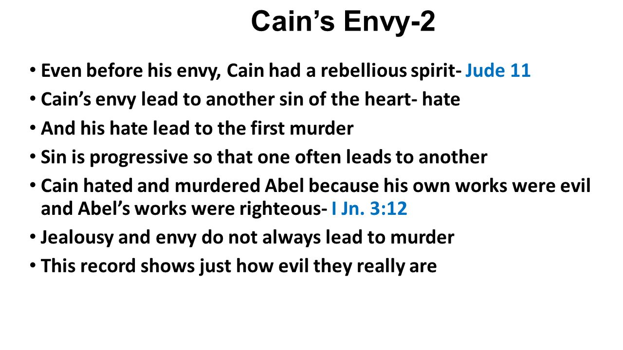 Cainu0027s Envy 2 Even Before His Envy, Cain Had A Rebellious Spirit  Jude