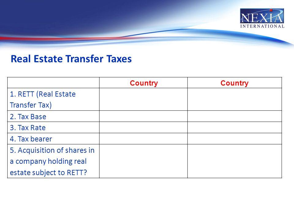 Real Estate Transfer Taxes Country 1. RETT (Real Estate Transfer Tax) 2.